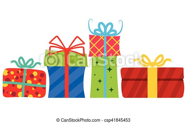 Gift boxes with ribbon the concept congratulations vector gift boxes with ribbon csp41845453 negle Choice Image