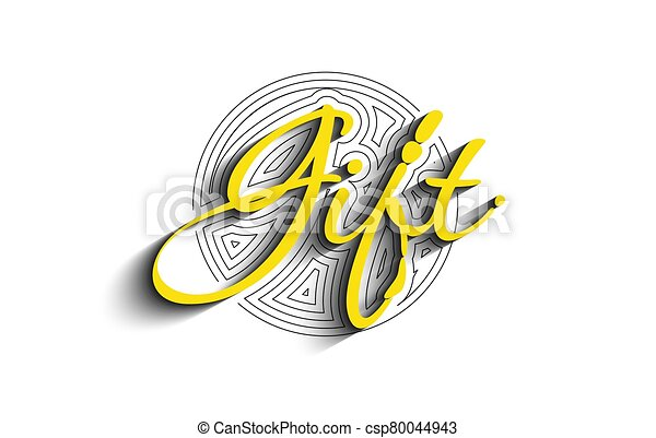 Gift Calligraphic 3d Style Text Vector illustration Design. - csp80044943