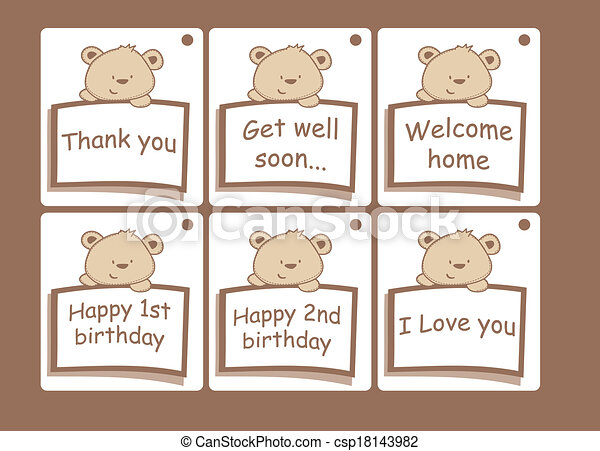 Gift cards with bears. - csp18143982