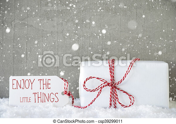 Wonderful Gift, Cement Background With Snowflakes, Quote Enjoy Little Things    Csp39299011
