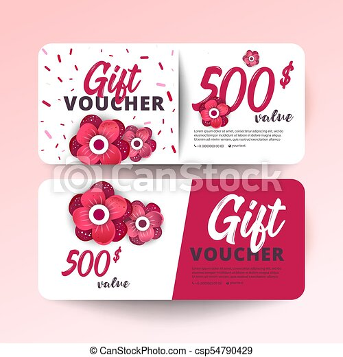 Gift Certificate Coupon Template Set Of Colorful Gift Vector