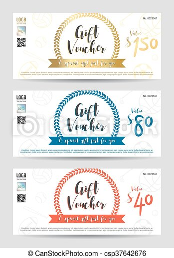 Gift certificate, gift voucher, gift card template in sport theme ...