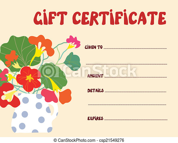 Gift certificate template funny design with flowers vectors ...