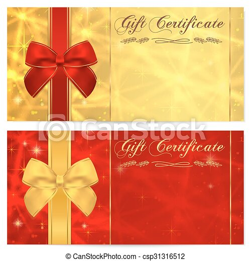 Gift Certificate Voucher Coupon Bow Gift Certificate Voucher
