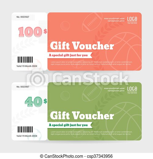 gift certificate voucher coupon template in sport theme csp37343956