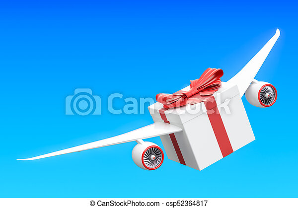 Gift delivery concept  Gift box with wings flying in the sky, 3D rendering