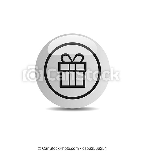 Gift icon in a button on a white background - csp63566254