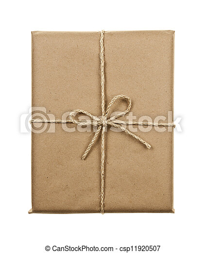 Gift in brown paper tied with string - csp11920507