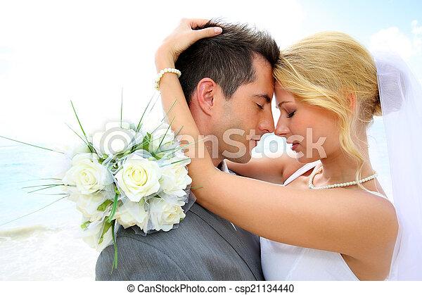 gift, just, par, ögonblick, romantisk, delning - csp21134440