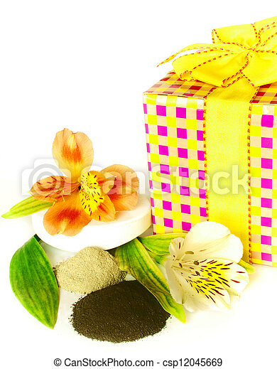 gift of spa clay and soaps with flower isolated on white. - csp12045669
