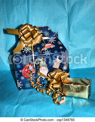 Gift on blue backdrop - csp1349760
