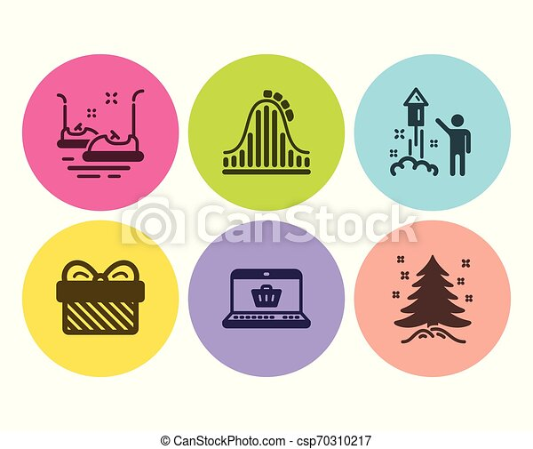 Gift Online Shopping And Bumper Cars Icons Set Roller Coaster Fireworks And Christmas Tree Signs Vector Gift Online