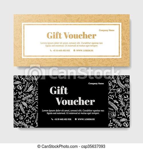 Gift Premium Voucher Coupon Template Golden Flower Template For