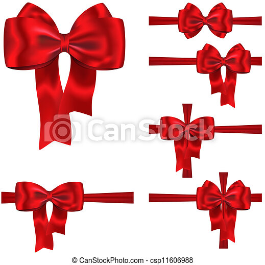 Gift ribbon and bow set set of red ribbons with luxurious gift ribbon and bow set vector negle Image collections