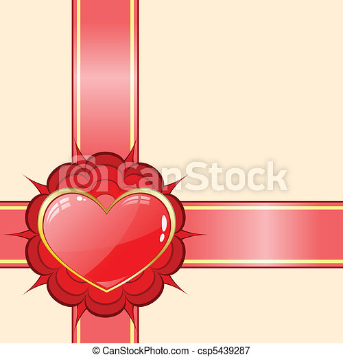 Gift ribbon with red heart - csp5439287