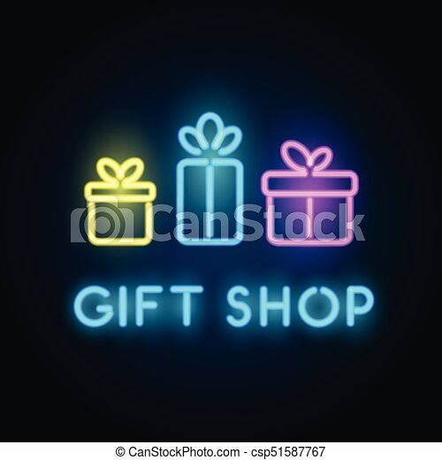 Gift Shop Neon Sign Signboard For Store Front Vector Logo Template