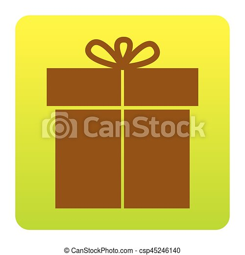 Gift sign. Vector. Brown icon at green-yellow gradient square with rounded corners on white background. Isolated. - csp45246140