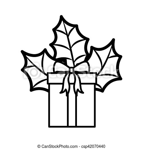 T Silhouette With Bow And Christmas Leaves Vector Illustration
