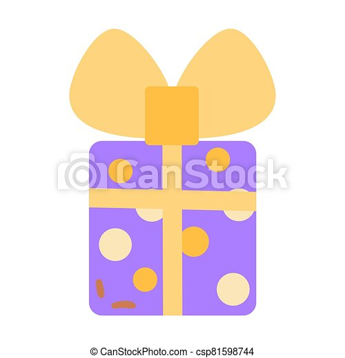 Gift square violet box in yellow polka dots with bow and yellow ribbon in flat style on a white background isolated. Gift promotion design, sticker for letter to customer, gift icon, birthday, holiday - csp81598744