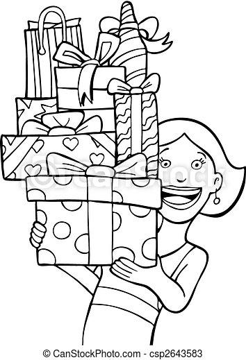 Gift Stack line art - csp2643583
