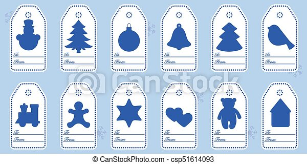 Gift tags with new year and christmas symbols with ribbon. - csp51614093