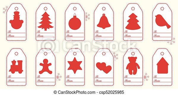 Gift tags with new year and christmas symbols with ribbon. - csp52025985