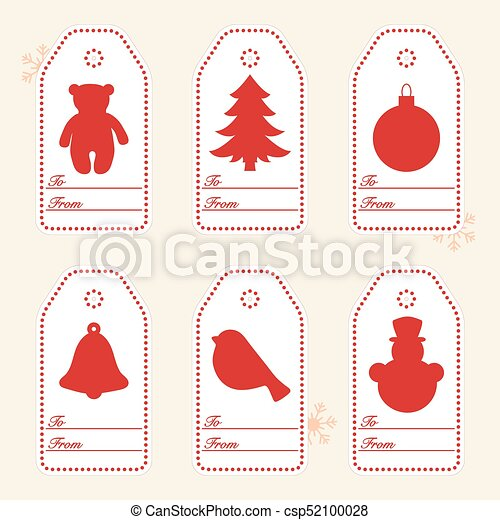 Gift tags with new year and christmas symbols with ribbon. - csp52100028