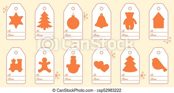 Gift tags with new year and christmas symbols with ribbon. - csp52983222