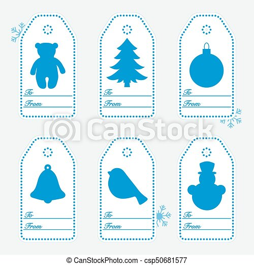 Gift tags with new year and christmas symbols with ribbon. - csp50681577