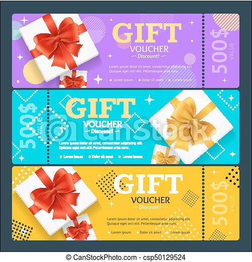 Gift Voucher Card Set Template Monetary Value Coupon Vector Gift