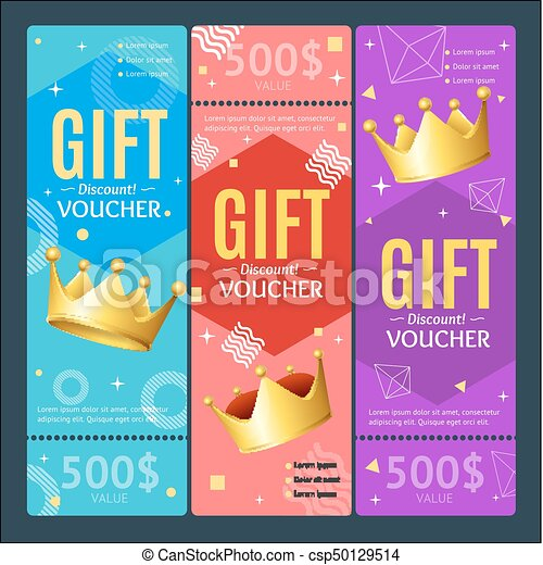 Gift Voucher Card Set Template Monetary Value Coupon. Vector - csp50129514