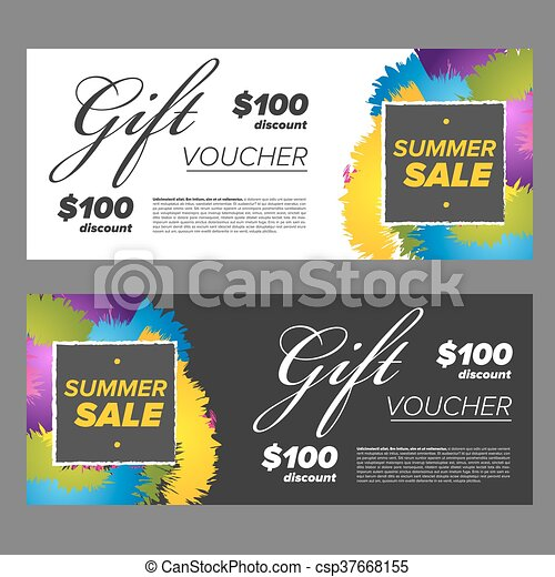 Gift voucher design template with colored abstract... clipart vector ...