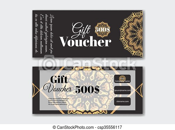 Gift voucher design templates with gold pattern. vector... vector ...