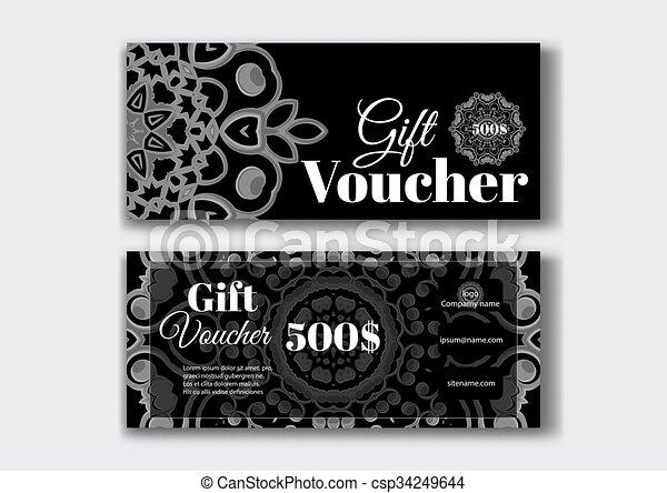 gift voucher design templates with swirl pattern vector illustration