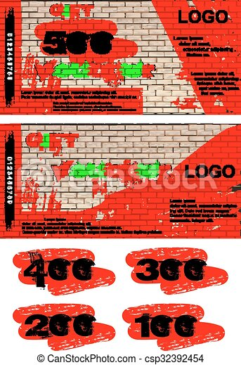 Vector template gift voucher graffiti on a brick wall the front and vector template gift voucher graffiti on a brick wall the front and reverse side added examples of numbers 500 400 300 200 and 100 maxwellsz