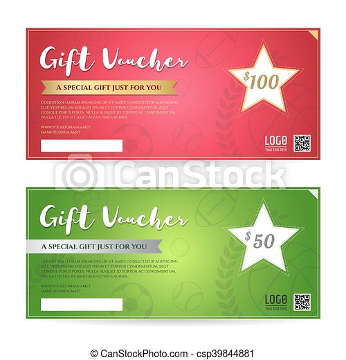 Gift voucher or gift certificate template in red and green... vector ...