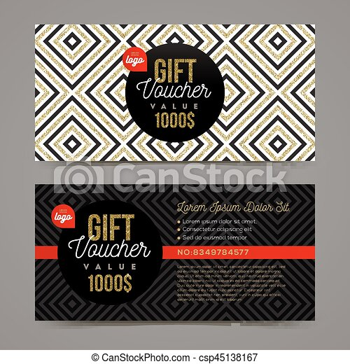 Gift voucher template with glitter gold elements. vector ...