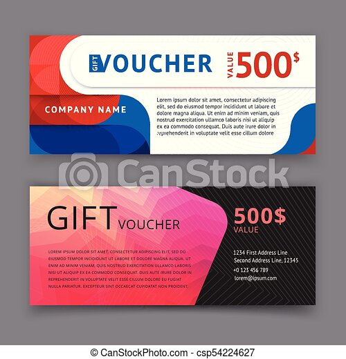 Vector Illustration Gift Voucher Template With Clean And  Vector