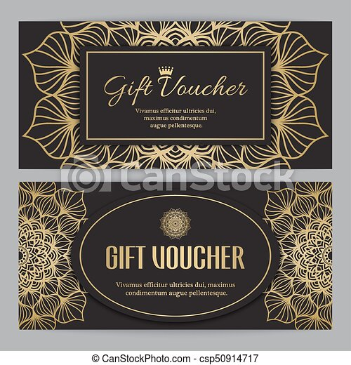 Gift voucher template with floral mandala ornament vector clip art ...