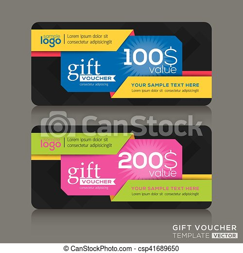 Gift voucher template with abstract colorful modern design background - csp41689650