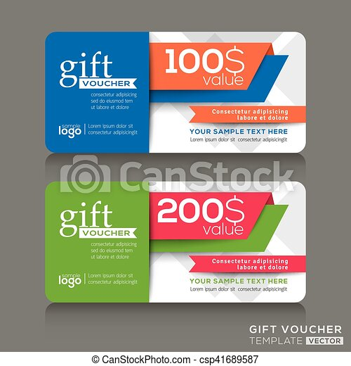 Gift voucher template with abstract modern design background - csp41689587