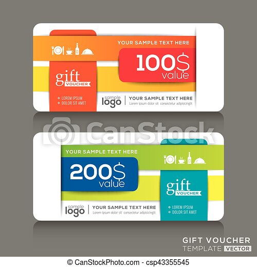 Gift voucher template with abstract colorful modern design background - csp43355545