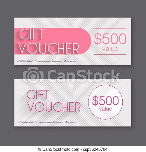 Gift Voucher Template With Colorful Pattern Gift  Vector Clipart