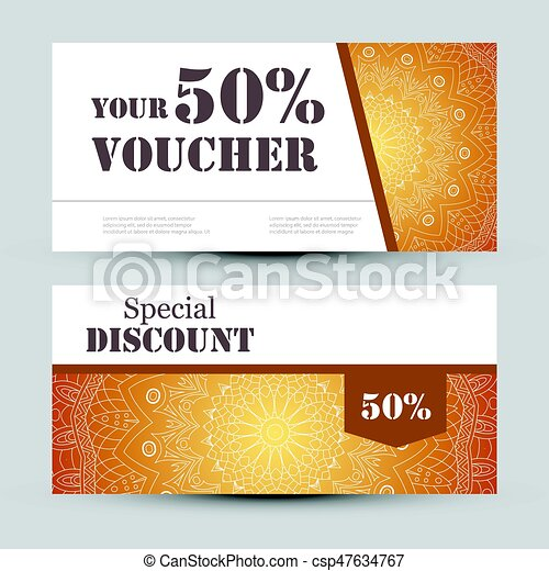 Gift Voucher Template With Mandala Design Certificate For Sport Or Yoga Center Magazine Etc Vector Coupon Ornament On Background