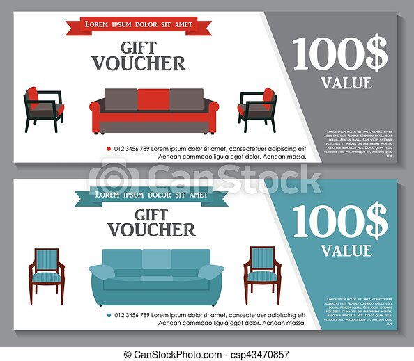 Gift Voucher Template with variation of furniture for apartments Discount Coupon. Vector Illustration. - csp43470857