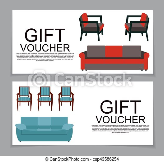 Gift Voucher Template with variation of furniture for apartments Discount Coupon. Vector Illustration. - csp43586254
