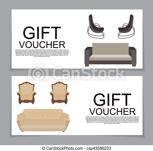 Gift Voucher Template with variation of furniture for apartments Discount Coupon. Vector Illustration. - csp43586233