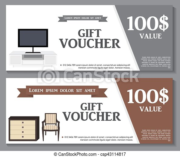Gift Voucher Template with variation of furniture for apartments Discount Coupon. Vector Illustration. - csp43114817
