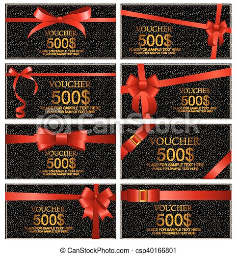 Gift Voucher with Red Bow and Ribbon Set Template For Your Business. Vector Illustration - csp40166801