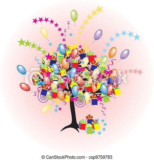 Árbol de fiesta de dibujos animados con globos, regalos, cajas para eventos felices y vacaciones - csp9759783